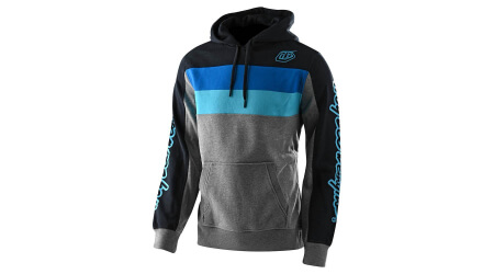 Troy Lee Designs Block SIgnature Pullover pánská mikina Heather Gray/Blue